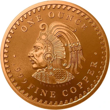 1 ounce copper Aztec round - Front